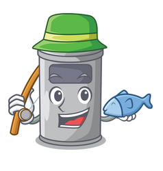 fishing cartoon steel trash can in the room vector image