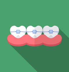 Flat design modern of dental bracers icon with vector image