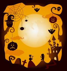 Flat halloween symbols poster vector
