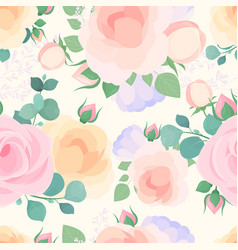 flowers pastel color flat seamless pattern vector image