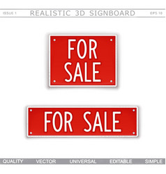 for sale signboard stylized car license plate vector image
