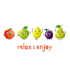 funny fruits cartoon baby fruit summer sweets vector image