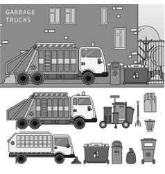 Garbage truck on street line monochrome vector