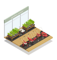 Garden center equipment sale isometric composition vector