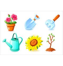 gardening icons set - flower pot shovel rake vector image