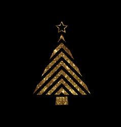 Golden glitter christmas tree flat icon vector
