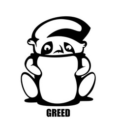 greed hand drawn monochrome outline vector image