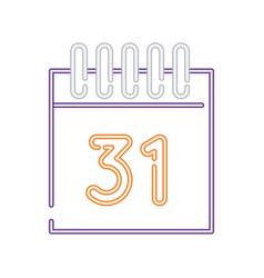 Halloween calendar with 31 number neon style vector