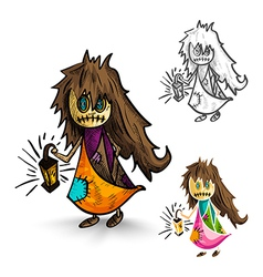 Halloween isolated sketch style witches vector