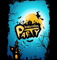 halloween party background with moon whitch and vector image