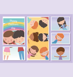 happy childrens day cards boy and girls vector image
