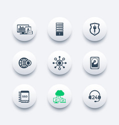 Hosting data servers icons set vector