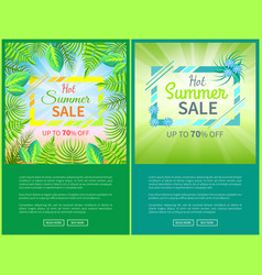 hot summer sale web posters set up 70 off banner vector image