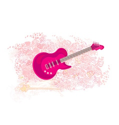 image of pink guitar - abstract background vector image