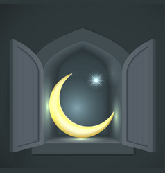 Islamic crescent and star vector