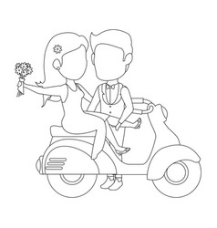 Isolated newlywed couple motorcycle vector