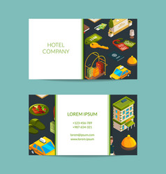isometric hotel icons business card set vector image