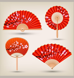 japanese and chinese hand fans set vector image