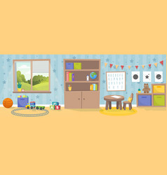 kindergarten or kid room interior empty cartoon vector image