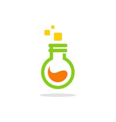 Laboratory bottle science logo vector