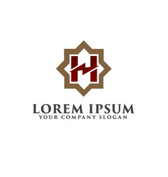 letter h monogram logo design concept template vector image
