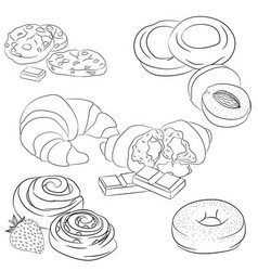 Line art various baking vector