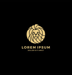 Lion head logo round vector