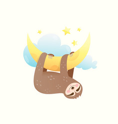 Little baby sloth sleeping eyes closed happy vector
