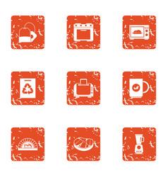 livelihood icons set grunge style vector image