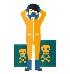 Man in protective chemical suit vector
