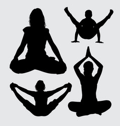 Meditation and acrobat people action silhouette vector