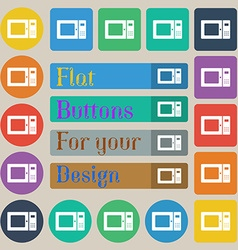 microwave icon sign Set of twenty colored flat vector image