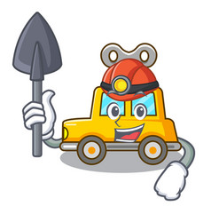 Miner cartoon clockwork toy car for gift vector
