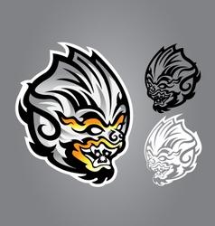 Monkey linethai emblem logo vector