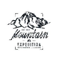 Mountain expedition label with shabtexture vector