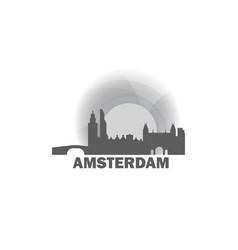 netherlands amsterdam skyline vector image