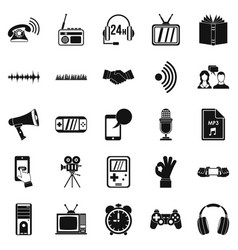 note icons set simple style vector image