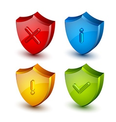 Notification shield icons vector image