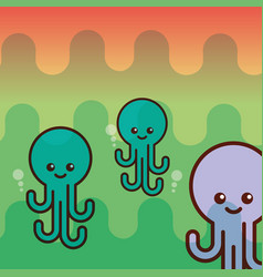 octupus sea life cartoon creature vector image