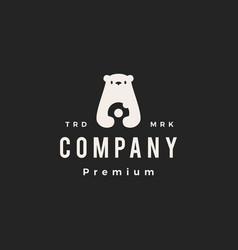 Polar bear donuts hipster vintage logo icon vector