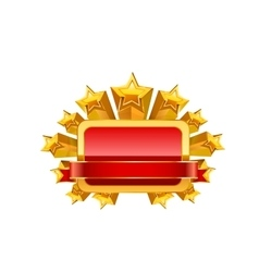 Red frame and gold stars vector image