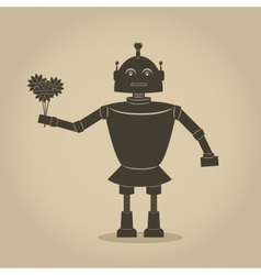 Robot holding bouquet of flowers vector