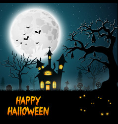 Scary church with bats hanging on tree vector