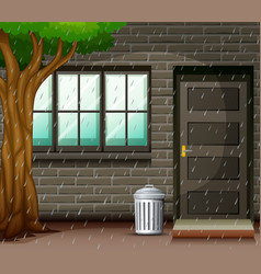 scene with heavy rain in front the house vector image