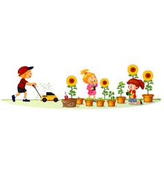 scene with many children in garden vector image