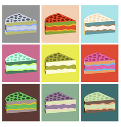 set icons in flat design cake vector image