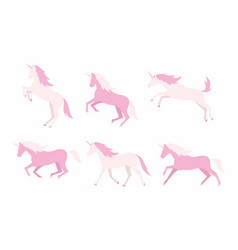 set of colorful unicorns vector image