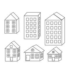 set of different houses building in the city vector image