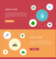 set of nature icons flat style symbols with leaf vector image