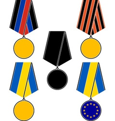 Set of ukrainian medals vector